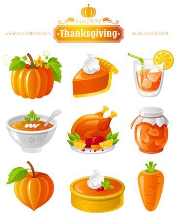 roast turkey: Vector illustration icon set with autumn and thanksgiving food and symbols on black background. Includes pumpkin vegetable, pie slice, orange juice, soup, roast turkey, apricot jam, cake, carrot.