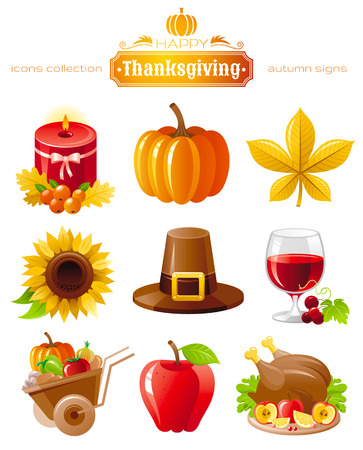 roast turkey: Vector icon set with autumn and thanksgiving food and symbols on black background. Includes candle, pumpkin, chestnut leaf, sunflower, pilgrim hat, wine with grapes, wheelbarrow harvest, roast turkey