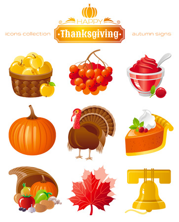 plenty: Vector icon set with autumn and thanksgiving food and symbols on black background. Includes apple basket, rowan berry, cranberry sauce, pumpkin, turkey, pie horn of plenty, maple leafs, church bell.
