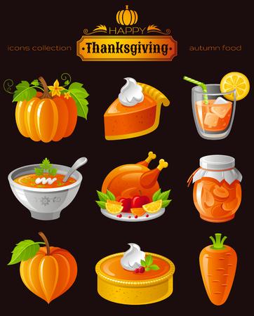 orange cake: Vector illustration icon set with autumn and thanksgiving food and symbols on black background. Includes pumpkin vegetable, pie slice, orange juice, soup, roast turkey, apricot jam, cake, carrot.