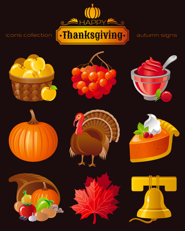horn of plenty: Vector icon set with autumn and thanksgiving food and symbols on black background. Includes apple basket, rowan berry, cranberry sauce, pumpkin, turkey, pie horn of plenty, maple leafs, church bell.