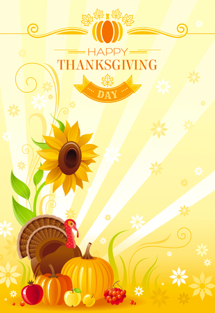 party cartoon: Happy Thanksgiving autumn food vector background with pumpkin icon, turkey, sunflower, vegetable and fruit illustration. Abstract seasonal concept, fall gardening, autumn farming harvest holiday.