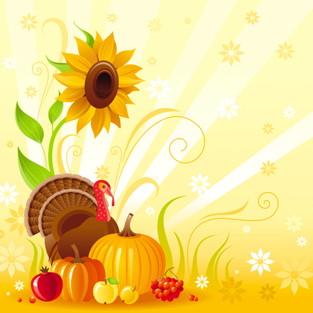 abstract food: Happy Thanksgiving autumn food vector background with pumpkin icon, turkey, sunflower, vegetable and fruit illustration. Abstract seasonal concept, fall gardening, autumn farming harvest holiday.