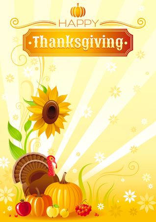 vegetable gardening: Happy Thanksgiving autumn food vector background with pumpkin icon, turkey, sunflower, vegetable and fruit illustration. Abstract seasonal concept, fall gardening, autumn farming harvest holiday.