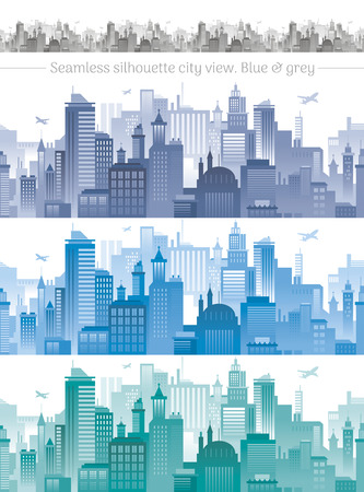 city view: Horizontal cityscape with airplanes, abstract vector illustration. City view with urban elements - office buildings, shopping center, skyscrapers and other houses. Seamless pattern, white background