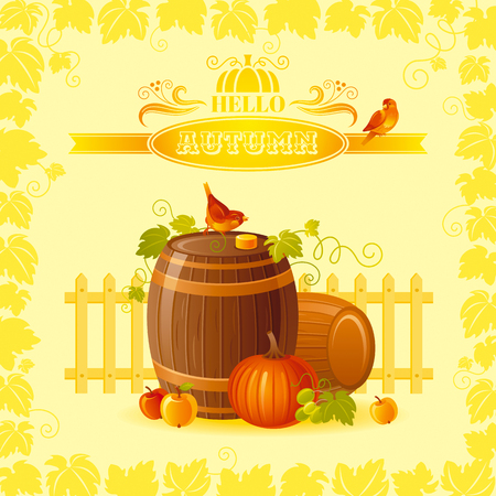cask: Thanksgiving illustration of beautiful autumn still life on sunny background with modern elegant text lettering, copy space. Countryside fall farm symbol - wine cask, cider apple, pumpkin