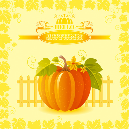 big leafs: illustration of beautiful autumn still life on sunny background in modern elegant style, text lettering, copy space. Countryside fall farm thanksgiving symbol - big orange pumpkin with leafs