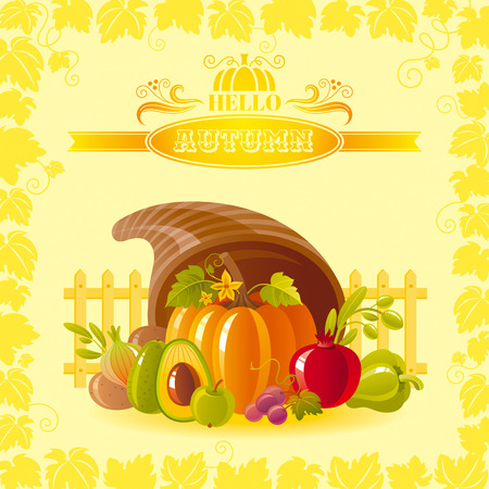 horn of plenty: illustration of autumn thanksgiving greeting card with holiday symbols on sunny background - horn of plenty with pumpkin vegetable and vineyard leafs frame. Modern elegant seasonal still life. Illustration