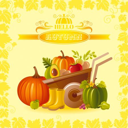 vegetable gardening: illustration of autumn thanksgiving greeting card with farm gardening symbols on sunny background - wheelbarrow with pumpkin, fruit and vegetable, rubber shoes, modern elegant seasonal frame. Illustration