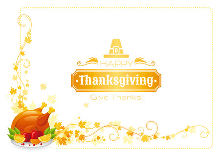 roast turkey: Autumn thanksgiving vector background with text lettering logo, food icon, leaves pattern. Abstract design template illustration for seasonal greeting card. Roast turkey holiday dinner, apple, orange Illustration