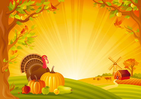 Thanksgiving day vector illustration of beautiful autumn landscape on sunny modern elegant background, copy space. Countryside fall farm thankful symbols - pumpkin, turkey bird, fruit Illustration