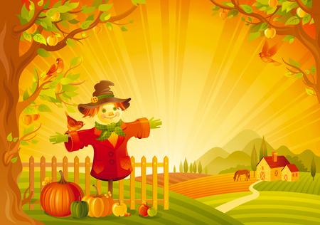 calabaza caricatura: Ilustración del vector del paisaje hermoso del otoño en el fondo la puesta del sol, estilo moderno, elegante las letras del texto, espacio de la copia. Campo símbolo thanksgiving granja otoño - espantapájaros, calabaza, manzano