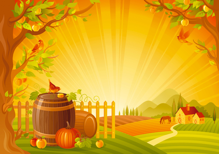 Thanksgiving vector illustration of beautiful autumn landscape on sunset background with modern elegant text lettering, copy space. Countryside fall farm symbol - wine cask, cider apple, pumpkin, bird