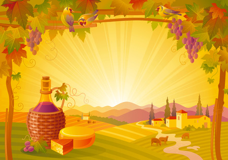 vineyard sunset: Vector illustration of beautiful autumn landscape on sunset background, modern elegant style with vineyard, elegant copy space. Countryside fall farm thanksgiving symbol, wine bottle, camembert cheese Illustration