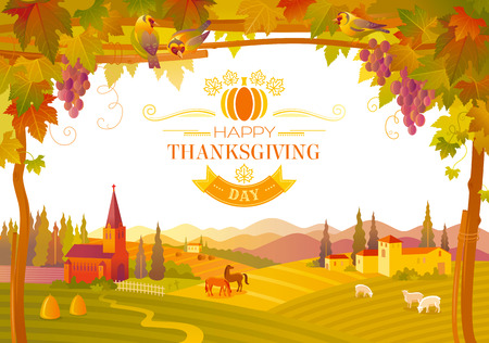 country church: Vector illustration of beautiful autumn landscape on white background in modern style with elegant text lettering Happy Thanksgiving, copy space. Countryside fall farm symbols. Church, vineyard Illustration