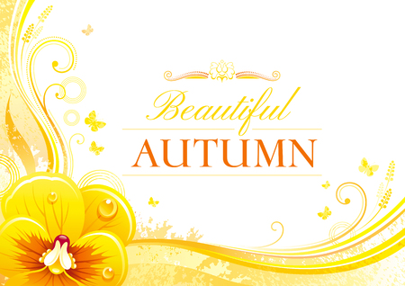 pansies: Autumn background with pansies flower, falling leaves, butterflies, abstract wave lines, swirls, grunge pattern, copy space for text. Elegant modern seasonal vector illustration.