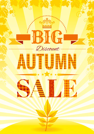 falling leaves: Vector illustration of abstract autumn poster in modern elegant style for autumn sale design. Sunny color, falling leaves pattern. Illustration