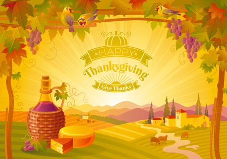 vineyard sunset: Thanksgiving vector illustration of beautiful autumn landscape on sunset background, modern style with vineyard, elegant text lettering, copy space. Countryside fall farm symbols, wine bottle, cheese