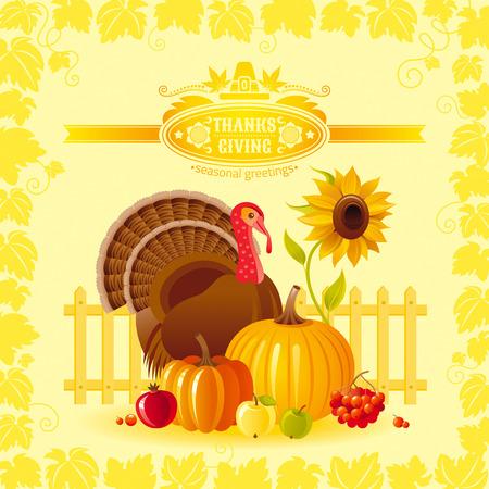 Vector illustration of autumn thanksgiving greeting card with holiday symbols on sunny background - turkey bird, pumpkin, sunflower and vineyard leafs frame. Modern elegant seasonal still life.