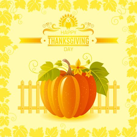 big leafs: Vector illustration of beautiful autumn still life on sunny background in modern elegant style, text lettering, copy space. Countryside fall farm thanksgiving symbol - big orange pumpkin with leafs