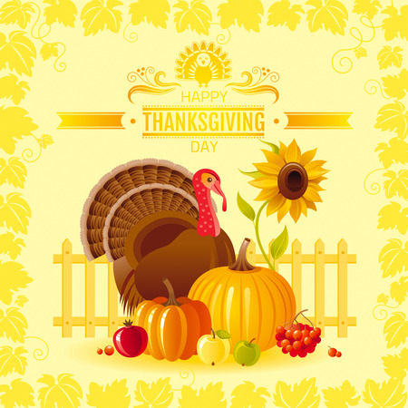 HI: Vector illustration of autumn thanksgiving greeting card with holiday symbols on sunny background - turkey bird, pumpkin, sunflower and vineyard leafs frame. Modern elegant seasonal still life.