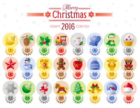 advent calendar: Merry Christmas icon set with Xmas icons, advent calendar 2016 design. Elegant modern holiday symbols, abstract template - candy cane, Santa hat, elf helper, apple, gift toy, tree, jingle bell