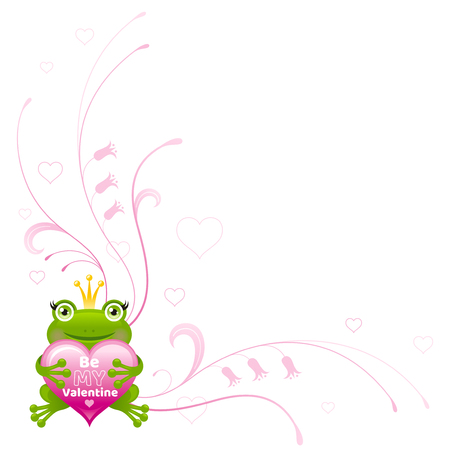 sapo principe: Happy Valentines day border, Frog prince heart - romance. Be my Valentine text letter, isolated love frame white background. Cute romantic vector illustration. Holiday corner design. Flat cartoon sign Vectores