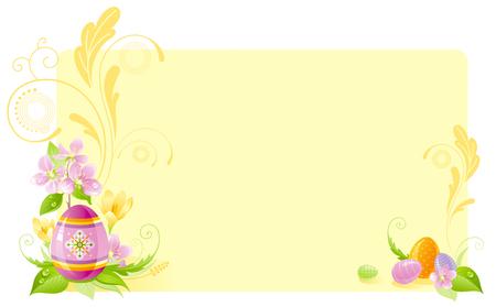 colored egg: Happy Easter horizontal banner border. Spring border, cherry blossom, colored egg, crocus flower, grass, swirls. Springtime nature. Vector illustration background. Greeting card