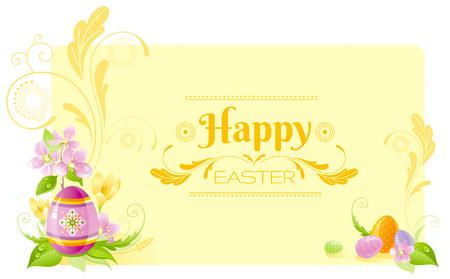 colored egg: Happy Easter horizontal banner border. Spring border, cherry blossom, colored ornament egg, crocus flower, grass, swirl. Springtime nature. Text letter. Vector illustration background. Greeting card