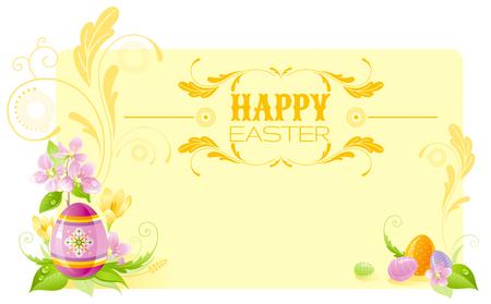 colored egg: Happy Easter horizontal banner border. Spring border, cherry blossom, colored egg, crocus flower, grass, swirls. Springtime nature. Text lettering. Vector illustration yellow background. Greeting card Illustration