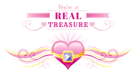 golden ring: Happy Valentines day border, golden ring treasure heart. Romance love text lettering, isolated frame white background. Cute romantic Valentine banner vector illustration. Abstract design. Flat cartoon