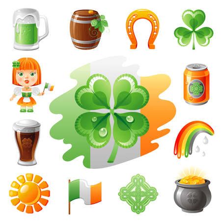 patric icon: Happy Saint Patrick day icon set, flat icons isolated white background. Green beer, irish flag, shamrock clover, leprechaun gold treasure. Northern Ireland celtic holiday. Abstract template.
