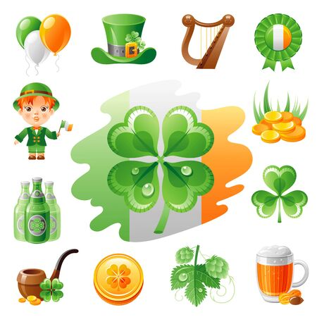 patrick day: Happy Saint Patrick day icon set, flat icons isolated white background. Green beer, irish flag, shamrock clover, leprechaun treasure, harp. Northern Ireland celtic holiday. Abstract template.