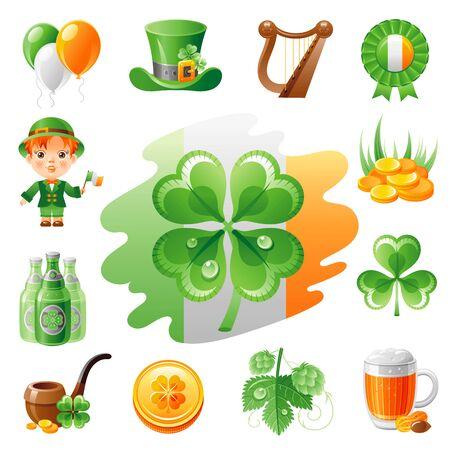shamrock clover: Happy Saint Patrick day icon set, flat icons isolated white background. Green beer, irish flag, shamrock clover, leprechaun treasure, harp. Northern Ireland celtic holiday. Abstract template.
