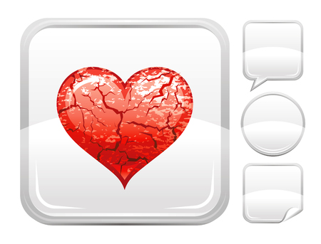 Happy Valentines day romance love heart. Grunge desert icon isolated white background. Romantic dating vector illustration. Button icons set. Abstract template holiday design. Flat cute cartoon sign