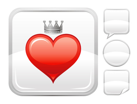 deign: Happy Valentines day romance love heart. Prince crown icon isolated on white background. Romantic dating vector illustration. Button icons set. Abstract template holiday design. Flat cute cartoon sign Illustration
