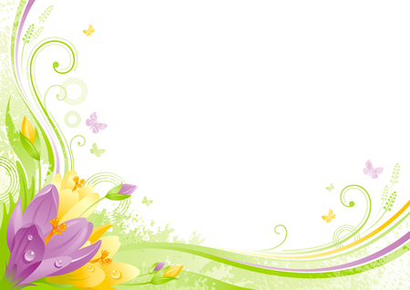 Spring background. Easter Mothers day Birthday. Crocus flower grass, leaf, butterflies, abstract grunge floral pattern. Isolated modern season vector illustration. Happy springtime greeting card