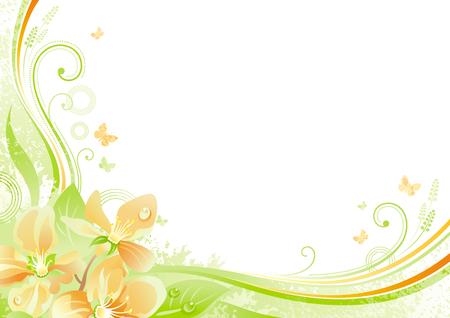 Spring background. Pâques Mères de mariée anniversaire de jour. Cerise fleur de fleur de sakura, feuille, papillon, grunge motif floral. plat isolé illustration moderne. Bonne carte de voeux de printemps