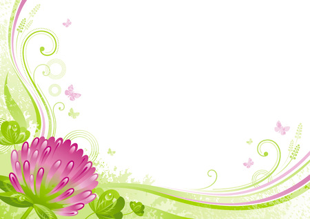 Spring background. Easter, Mothers day, Birthday, Wedding, Patrick. Clover shamrock flower, leaf, butterfly, grunge floral pattern. Isolated flat vector illustration. Happy springtime greeting card
