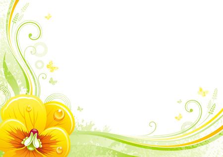 Priorità bassa della sorgente. Pasqua, giorno di madri, compleanno, matrimonio. Viole del pensiero fiore, foglia, farfalla, astratto grunge motivo floreale. Isolata piatto illustrazione vettoriale moderna. Cartolina d'auguri felice primavera