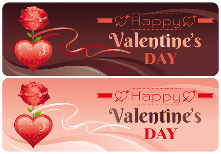 chocolate swirl: Happy Valentines day banner set, red ornament heart, rose flower, ribbon. Romance, love text lettering. Cute romantic Valentine border vector illustration. Abstract design. Flat cartoon sign.