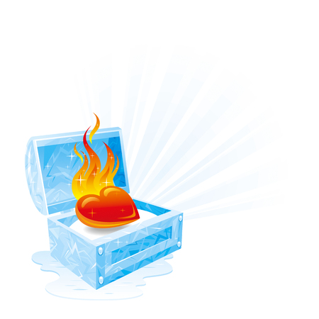 fire and ice: Happy Valentines day vector illustration, burning heart fire melts frozen ice chest. Romance, love banner, isolated frame white background. Cute romantic Valentine border. Abstract design. Flat sign Illustration