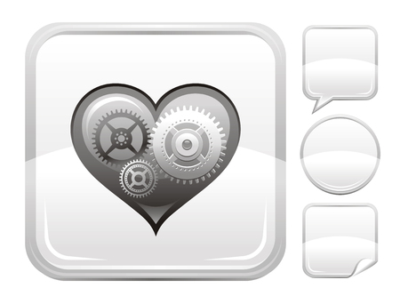 deign: Happy Valentines day romance love heart. Silver cogwheel icon isolated on white background. Romantic dating vector illustration. Button icons set. Abstract template holiday design. Flat cute cartoon