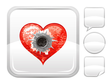 deign: Happy Valentines day romance love heart. Shot bullet icon isolated on white background. Romantic dating vector illustration. Button icons set. Abstract template holiday design. Flat cute cartoon sign.