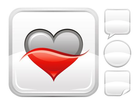 deign: Happy Valentines day romance love. Two colored heart icon isolated on white background. Romantic dating vector illustration. Button icons set. Abstract template holiday design. Flat cute cartoon sign.