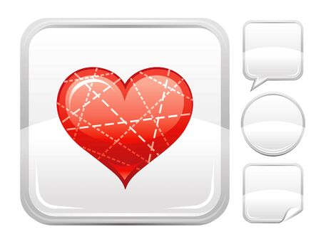 deign: Happy Valentines day romance love. Dotted line heart icon isolated on white background. Romantic dating vector illustration. Button icons set. Abstract template holiday design. Flat cute cartoon sign. Illustration