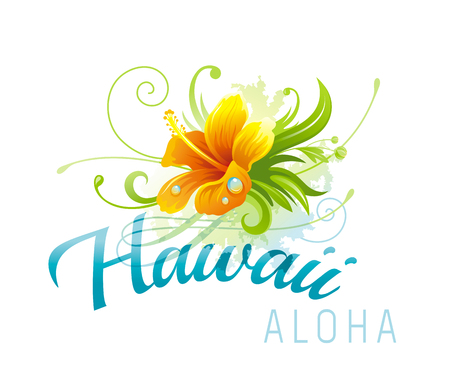 Aloha Hawaii vector illustration, hibiscus grunge flower isolated on white background. Summer holidays banner. Sea beach vacation poster. Tropical island travel logo icon. Abstract template design Illustration