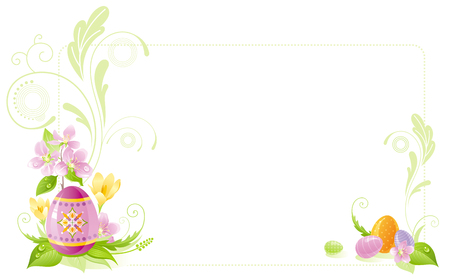 colored egg: Happy Easter banner border. Spring landscape - egg, crocus flower, grass, cherry blossom. Springtime nature. Horizontal template vector illustration background. Flat greeting card Illustration