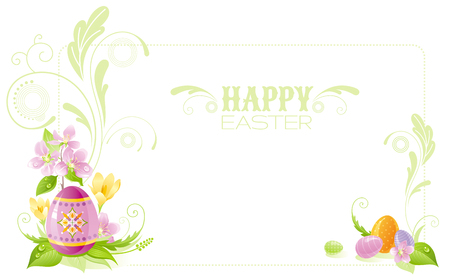 colored egg: Happy Easter banner border. Spring landscape - egg, crocus flower, grass, cherry blossom. Springtime nature. Horizontal template vector illustration background. Flat greeting card. Text lettering Illustration