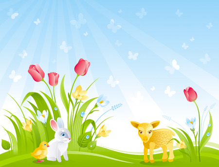 Happy Easter banner border. Spring landscape bunny rabbit, chicken, lamb, crocus flower, tulips, butterfly. Springtime nature. Horizontal template vector illustration background. Flat greeting card